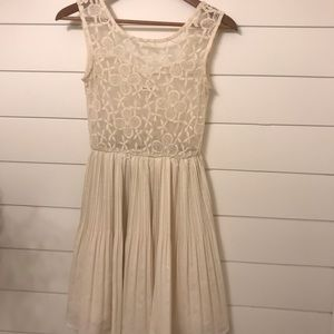 Monteau Fit and Flare Pleated Lace Dress Ivory